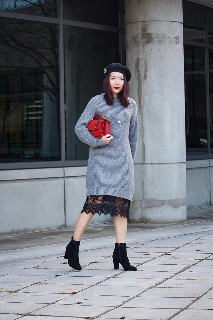 a88f46357a8 Knit Dress   Lace Hem - BlushMeNot